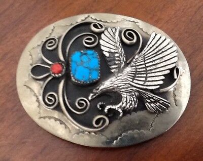 VIntage Native American Silver Eagle Turquoise & Coral Belt Buckle--Western