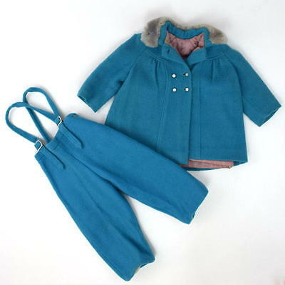 Vtg 60s Retro Blue Felt Wool Bib Overalls Pants & Coat Set Snow Suit Infant Baby