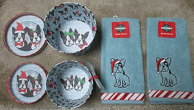 Boston Terrier Christmas Boxes (2) and Towels (2)