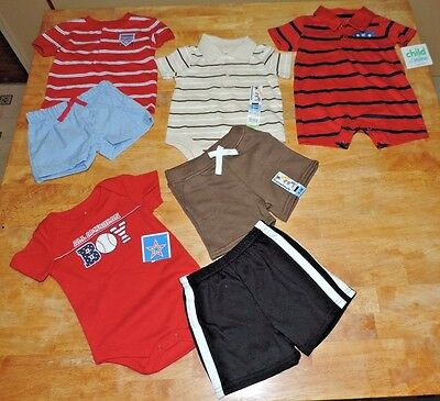 Baby Boy Lot of summer clothes 4 complete outfits Size 0-3 Months NEW!
