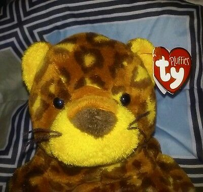 """PLUFFIES TyLux Ty POKEY LEOPARD 8"""" WILD CAT Plush & TAGS Baby safe WASHABLE 2003"""