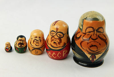Vintage Set Of 5 Russian Nesting dolls Russian Leaders Wooden Hand Painted 2.5""