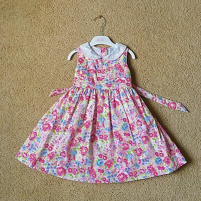 Polled & Friends Toddler GIRLS 100% Cotton Lined DRESS~ White Pink Flower Sz 4T