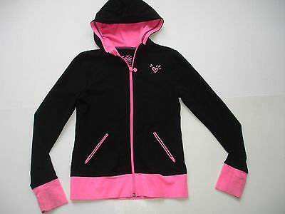 Girl 10 - Justice Black and Pink Warm Up Jacket w/ Thumb Holes