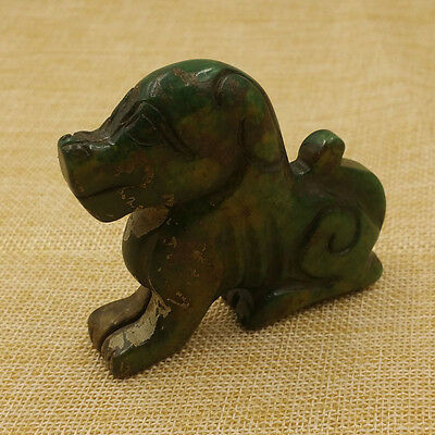 Z-121 Chinese Collection Old Jade Antiques Statues Hand-carved Jade Statue Dog