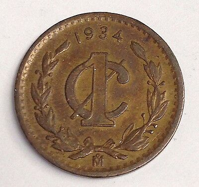 1934 Mexico One 1 Centavo, Mexican coin, KM#415, VF/XF