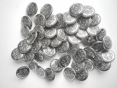 50 SILVER BUTTONS SIZE 15mm