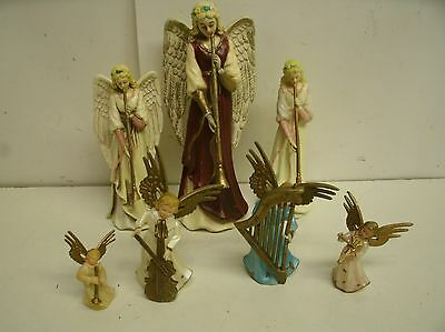 "Lot of 7 Vintage Plastic Angel w Musical Instruments Ornaments, decor 1.75"" - 6"""