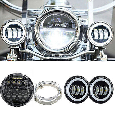 "7""inch LED Daymaker Headlight Passing Lights Fit Harley Davidson Road King FLHR"