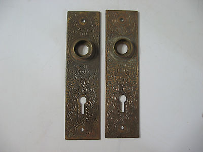 Pair of Victorian brass plated back plates for door handle