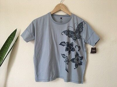 Tea Collection Girls Size 8 Gray Butterfly Floral T Shirt Short Sleeve NWT