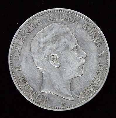 1907 A 5 Funf Mark Prussia Wilhelm II German States Foreign Silver Coin   1B14