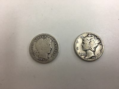 Lot Of 2 Barber And Mercury Dime US Silver Coins Lot