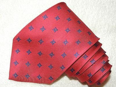 Charles Tyrwhitt Neck Tie Floral Pattern On Red Silk Men's Tie Made In Italy