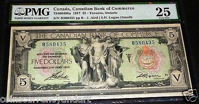 1917 $5 Canadian Bank Of commerce PMG 25