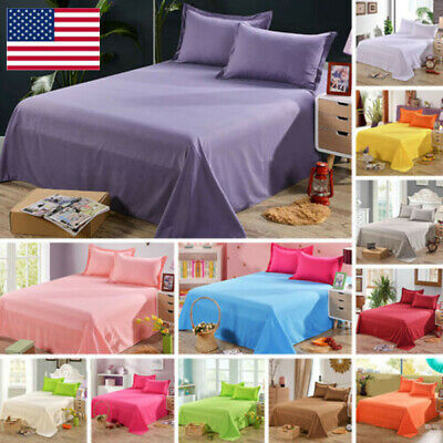 Cotton Flat Sheets Comfort Solid Color Bed Covers Twin Full Queen OR Pillowcase