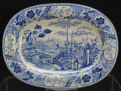 Antique Wedgwood Blue Transfer Palisade Pearlware Small Platter 1806