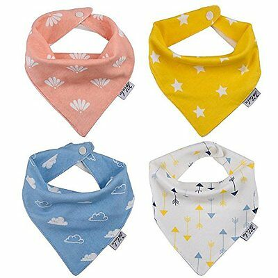 4 Pack Soft Absorbent Cotton Baby Girl  Boy Bandana Bibs Drool Bib with Snaps
