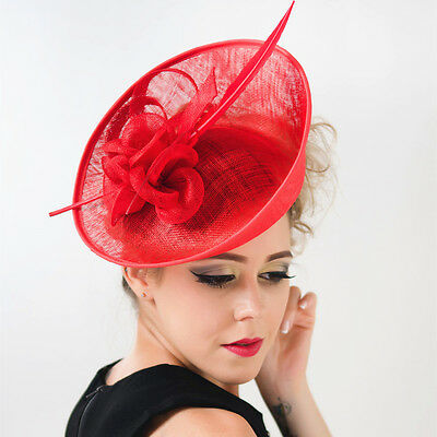 Noble Women Large Feather Fascinator Clip Hat Headband Church Kentucky  Derby New 7906faea1e3