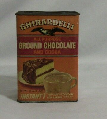 Vintage Ghiradelli Ground Chocolate And Cocoa 16 oz Can.