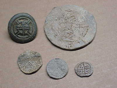 #406 Lot 5 Ancient Byzantine Knights Templar Cross Button Lead Seals Coin Medall