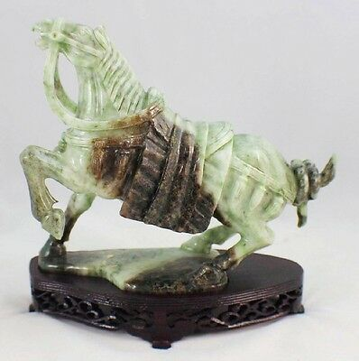 Antique Nephrite Jade Carving Horse Statue on Wooden Stand