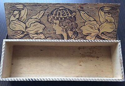 Tramp Art Jewelry Pencil Box - RARE Antique Folk Wood Carving Hand Carved Hobo