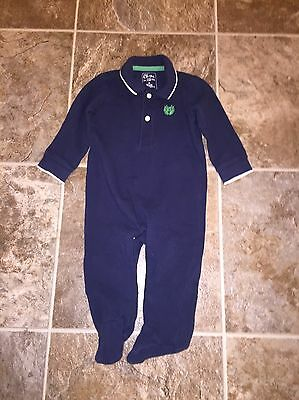Infant Baby Boy Chaps One Piece Romper Pajamas 6 Months Blue Collared Outfit