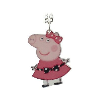 Children's Peppa Pig with Bow Silver Tone Necklace - Plus Free Organza Gift Bag