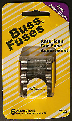 Buss Fuses American Car Fuse Assortment of 6 - AGC-5,15 & 30 SFE-9, 14 & 20 UK-6