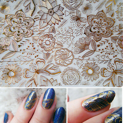 8 sheets 3D Flower Design Nail Art Manicure Tips Stickers Decals DIY Decoration