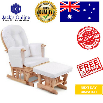 Baby Breast Feeding Sliding Glider Chair with Ottoman Natural Wood Nursing Aid F