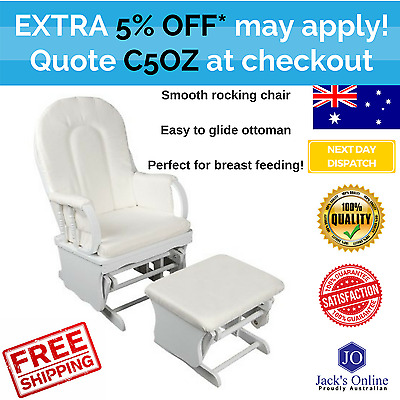Baby Breast Feeding Sliding Glider Chair with Ottoman White Nursing Aid Furnitur