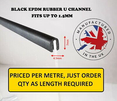 Black Rubber U Channel Edging Trim Seal 8mm x 5mm