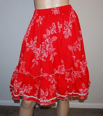 Red Floral Silver Trim Square Dance Patio Full Circle Skirt EUC