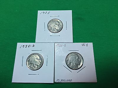 1935 P-D-S Buffalo Nickels (3)