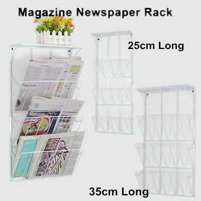 Wall Mounted Newspaper Rack Office Magazine Book Holder Display 3 Tier