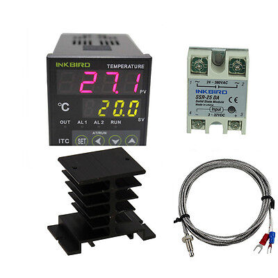 ITC100VH PID Digital Temperature Controller Thermostat 25 SSR K sensor Heat Sink
