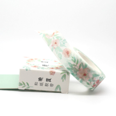 Washi Tape - Pink Roses and Green Garland 15mm x 7m Soft Pretty Design Planner