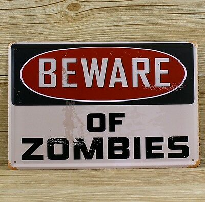 Zombie Plaque Sign Tin Metal Retro Vintage Shabby Chic Funny Wall Door Outdoor