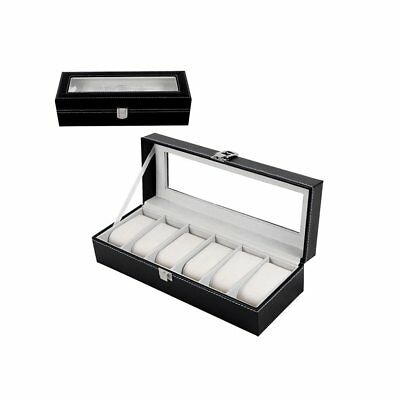 6 Grid Slots Wrist Watches Gift Case Jewelry Display Boxes Storage Holder LOT f7