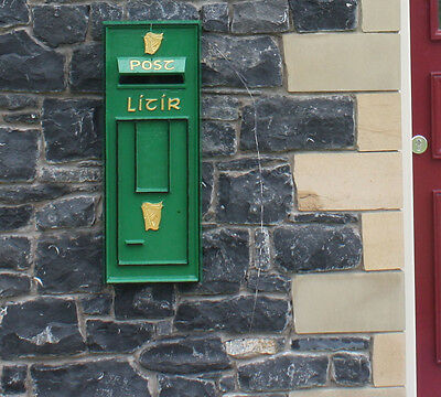 Irish An Post Green Harp Post Box Front Letter Mail Wall Mount Reproduction