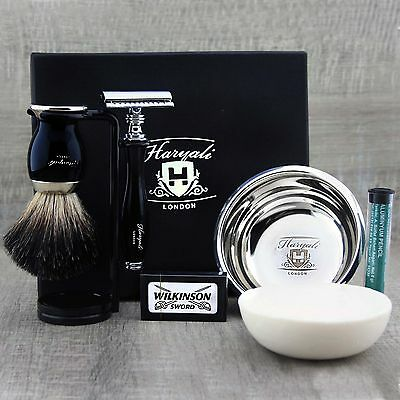 COMPLETE CLASSIC SHAVING SET Safety Razor & Black Badger Brush MENS GROOMING KIT