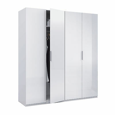 Serena 4 Door Wardrobe Extra Large 180cm White Bedroom Furniture
