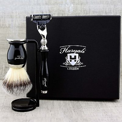 3 PIECE MEN'S SHAVING SET Synthetic Brush & Gillette Mach3 CLASSIC GROOMING KIT
