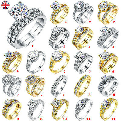 Women Charm Crystal 925 Sterling Silver Plated Rings Wedding Engagement Gift UK