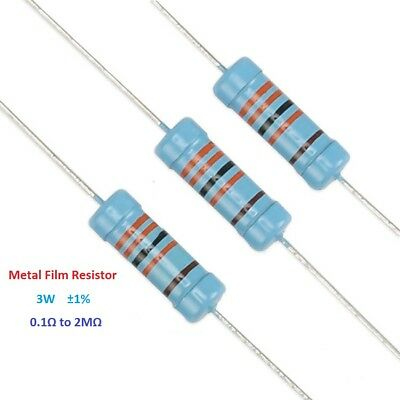 10PCS 3W Metal Film Resistor Tolerance ±1% Full Range of Values(0.1Ω to 2MΩ)