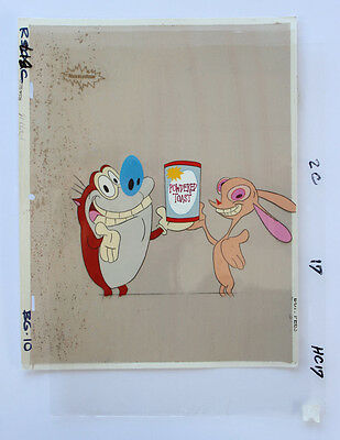 Ren & Stimpy Powdered Toast Production Cel Cell And Nickelodeon Animation Art