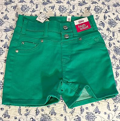 Girls Justice SZ 12  Premium Jean Denim Green High Waist shorts