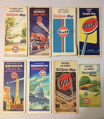Vintage Gulf gas & oil advertisement travel maps lot of (8)